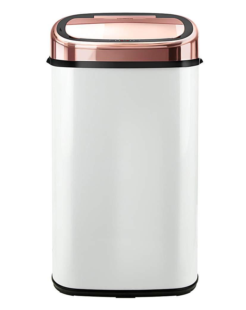Tower 58L White & Rose Gold Sensor Bin