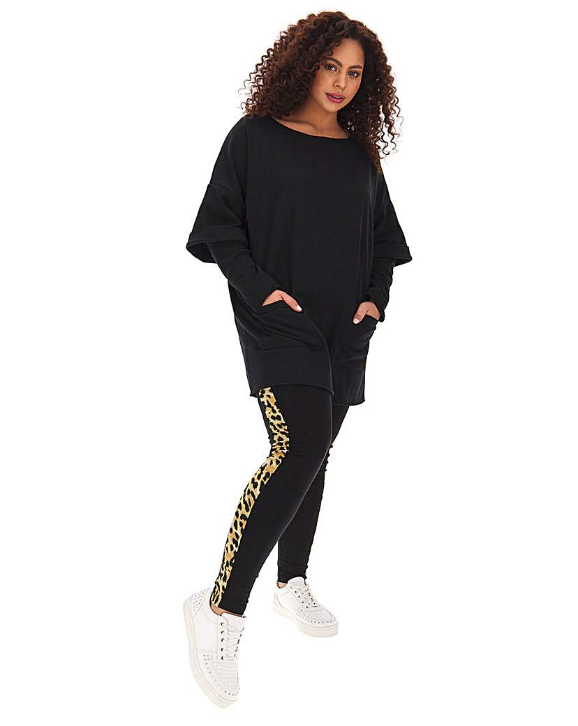 Simply Be Sporty Legging with Leopard Side Stripe