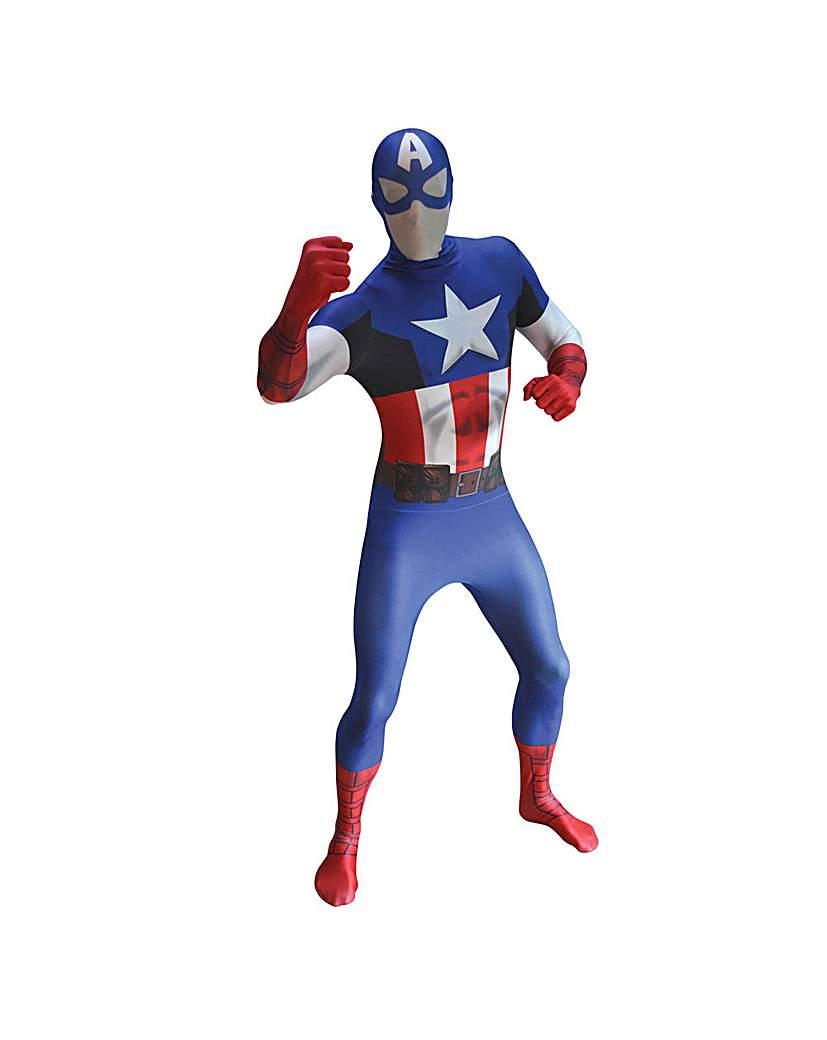 1940s Men's Costumes: WW2, Sailor, Zoot Suits, Gangsters, Detective Captain America Adult Unisex Morphsuit £48.00 AT vintagedancer.com