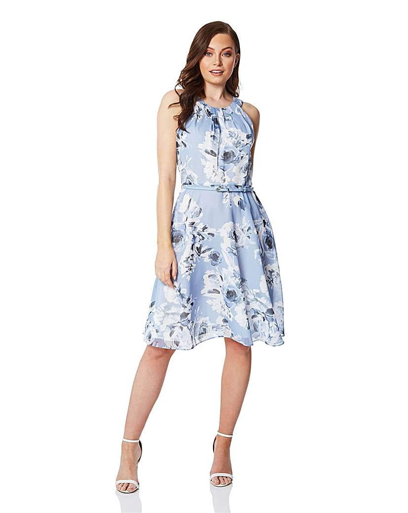 Roman Floral Fit and Flare Dress with...