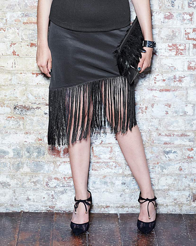 Simply Be Scuba Fringe Pencil Skirt