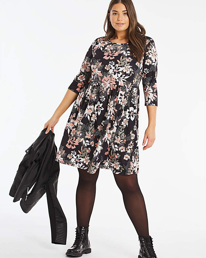 Capsule Floral Jersey Midi Dress With Pockets