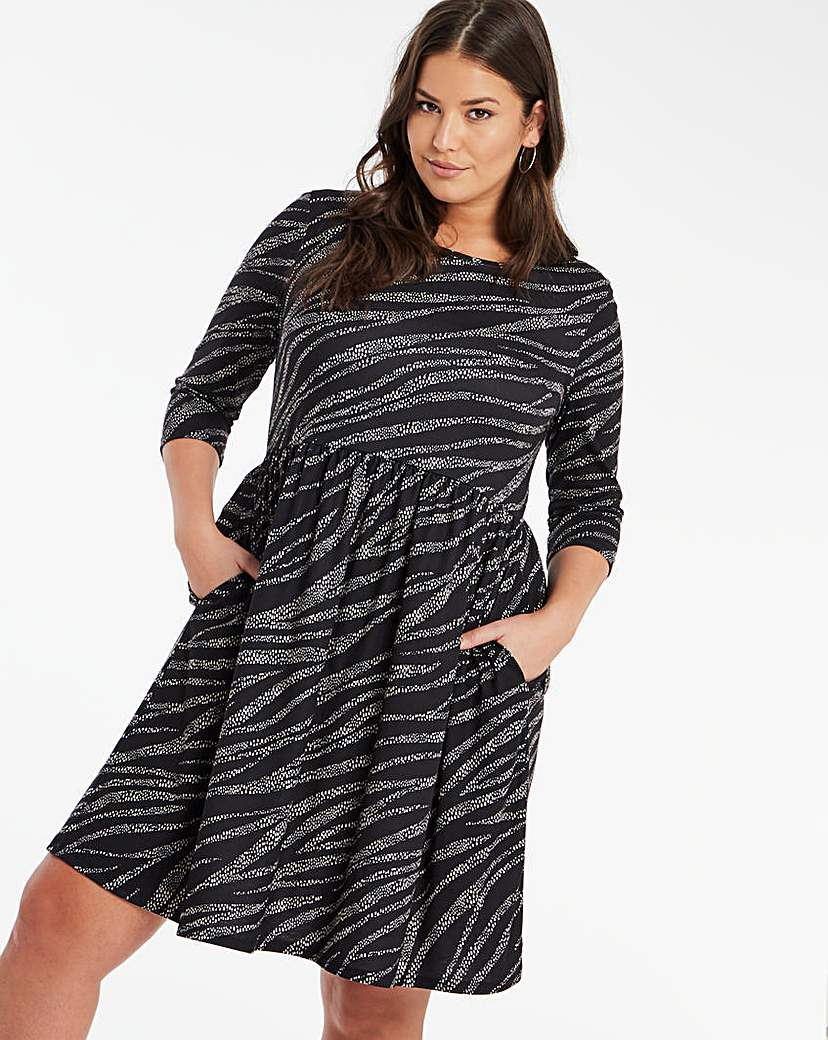 Capsule Zebra Jersey Midi Dress With Pockets
