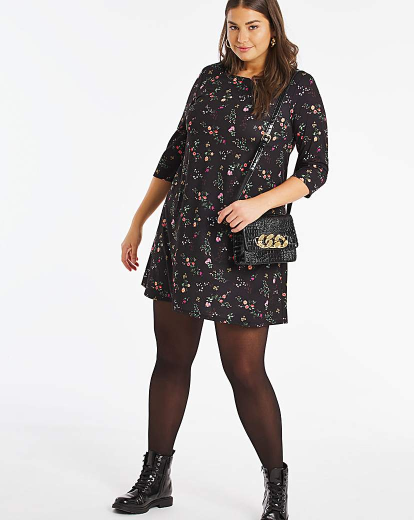 Capsule Dark Floral 3/4 Sleeve Swing Dress
