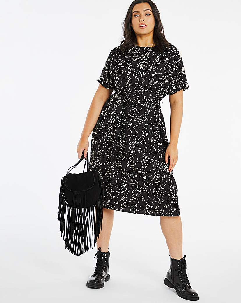 Capsule Animal Print Button Shoulder Shift Dress
