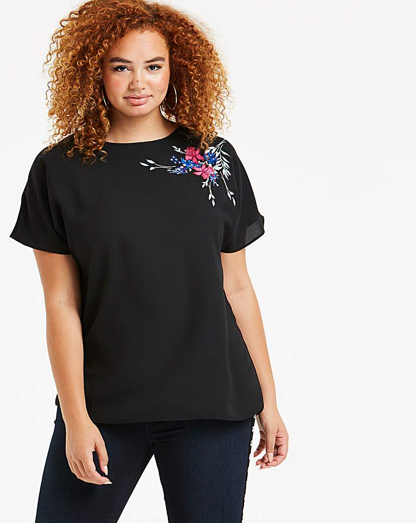 Black Embroidered Boxy Top