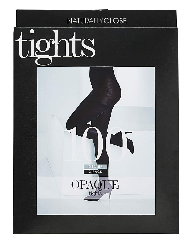 2 Pack 100 Denier Opaque Tights