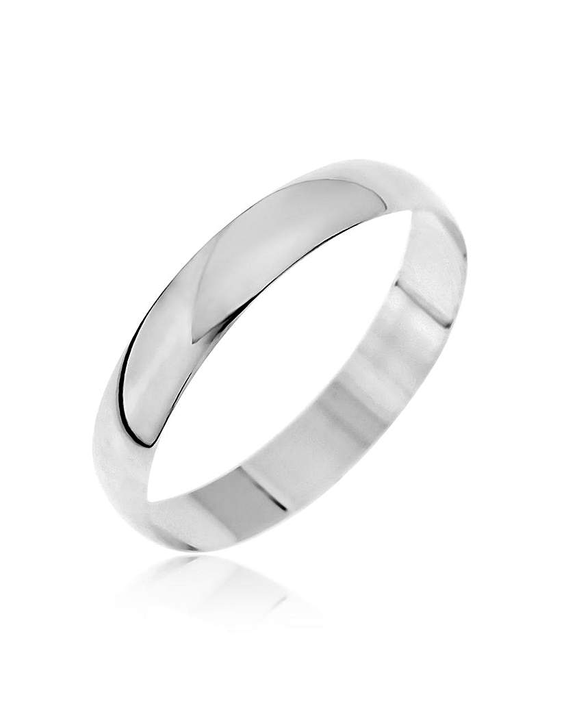 9ct White Gold D Shape Wedding Band