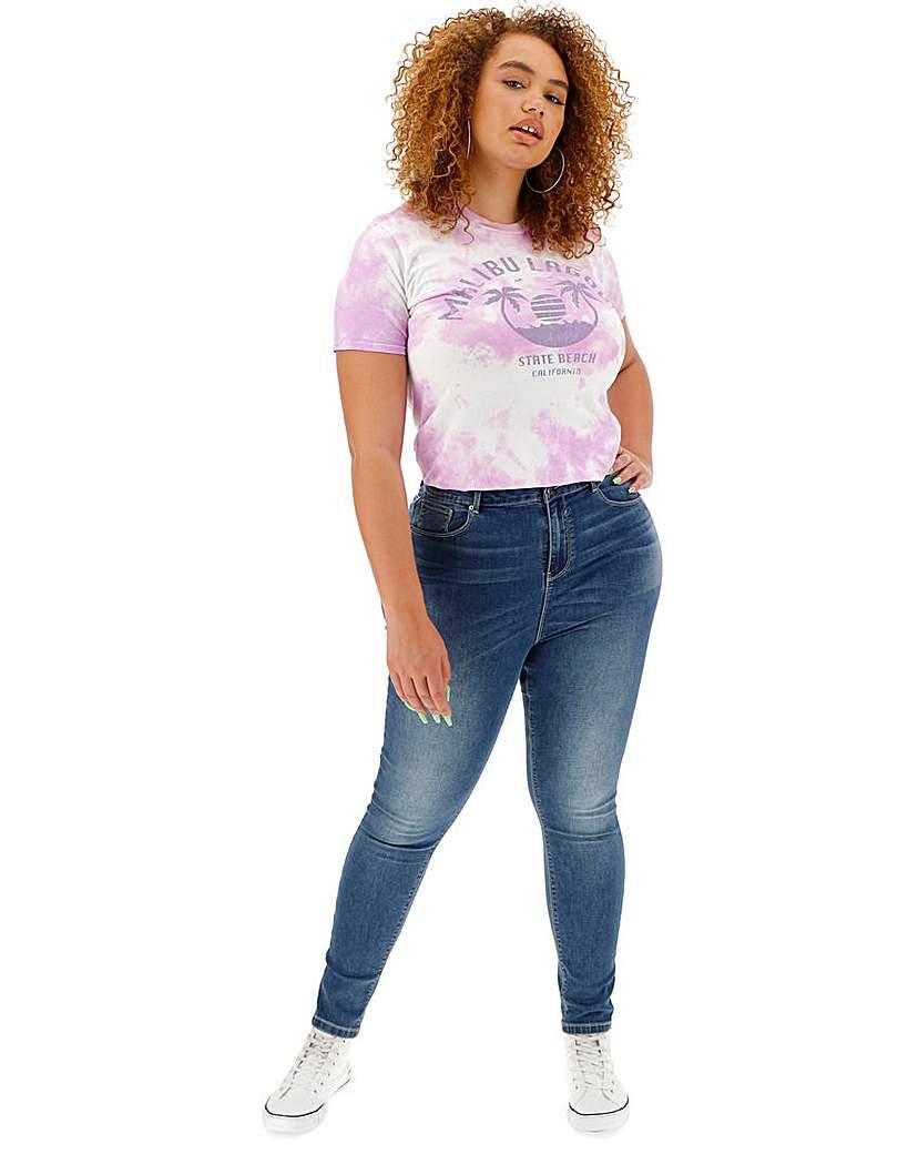 Simply Be Blue Chloe High Waist Skinny Jeans