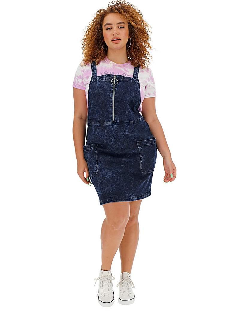 Indigo Acid Denim Zip Pinafore Dress