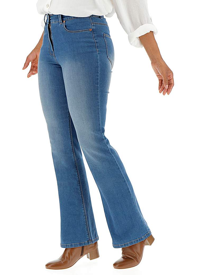 Vintage Inspired Dresses & Clothing UK Petite 247 Blue Bootcut Jeans £20.00 AT vintagedancer.com