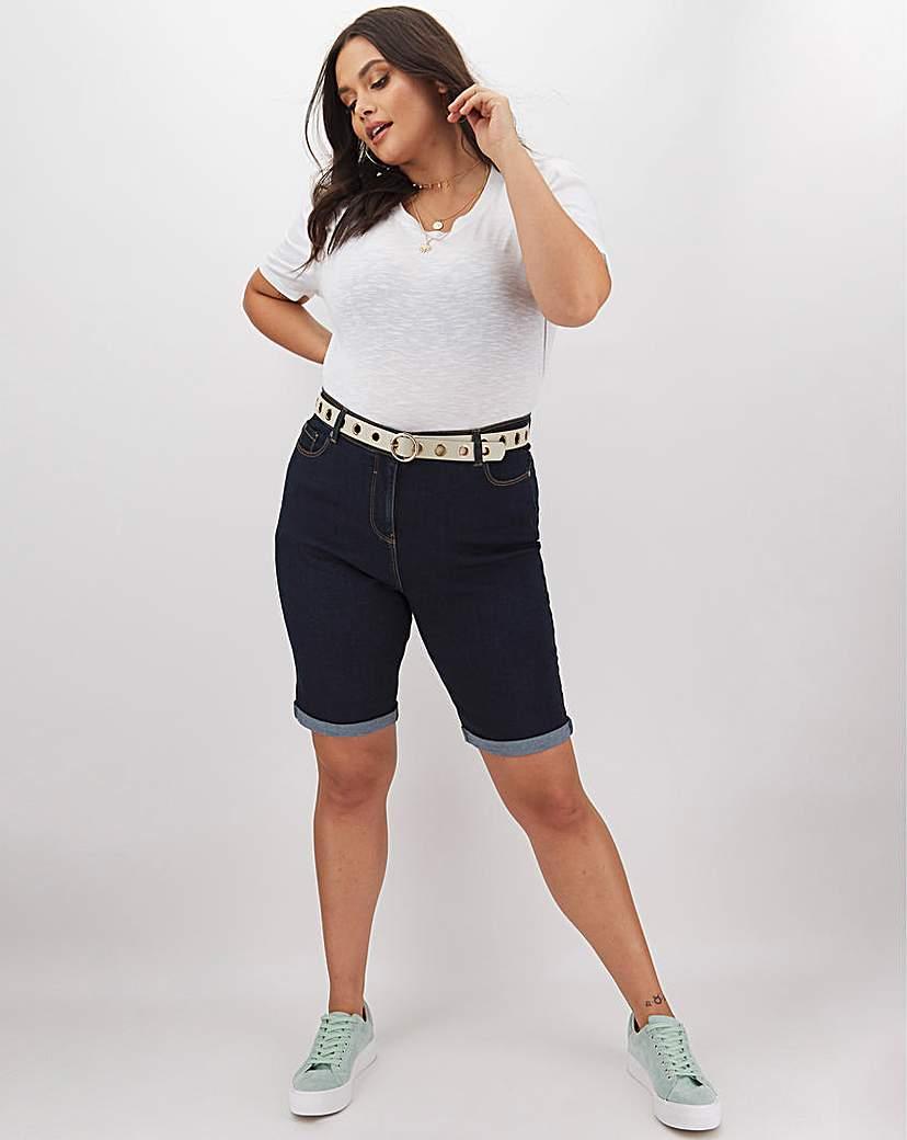 Capsule 24/7 Indigo Knee Length Denim Shorts