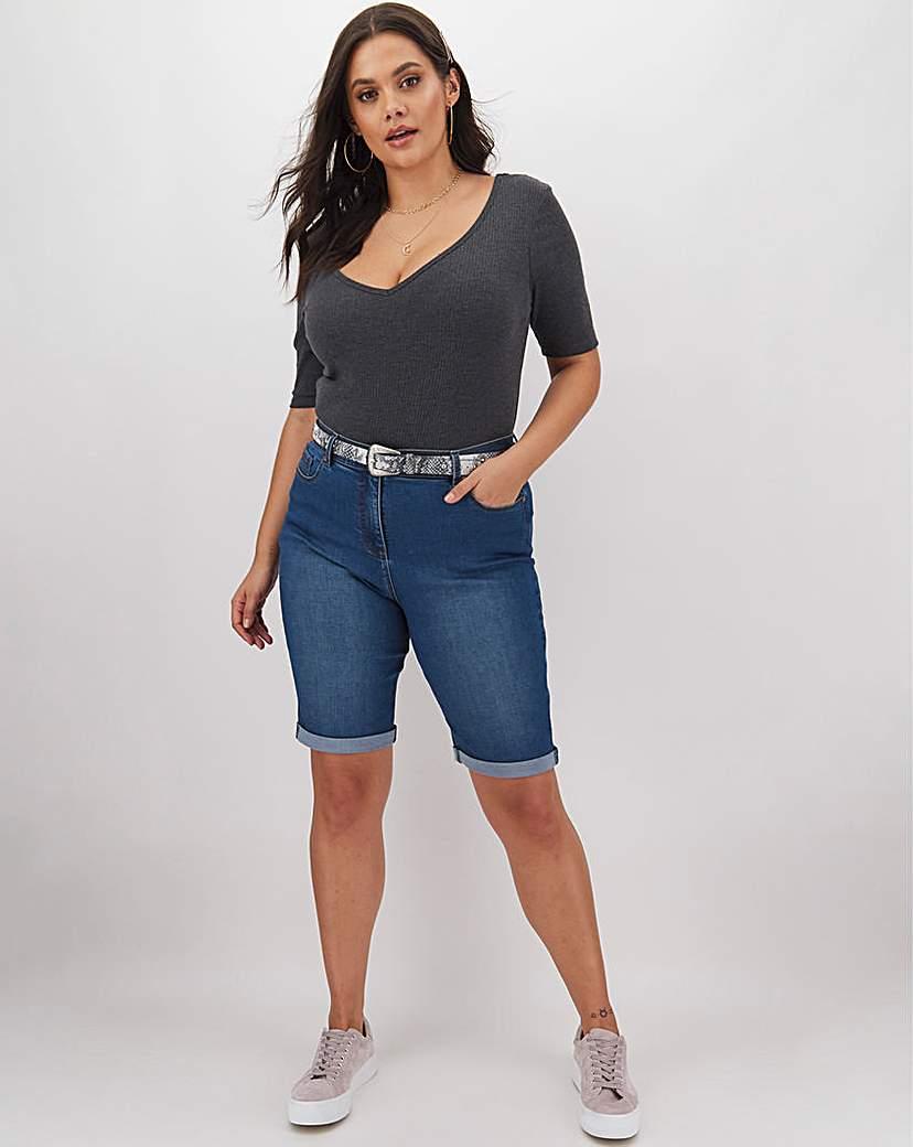 Capsule 24/7 Blue Knee Length Denim Shorts