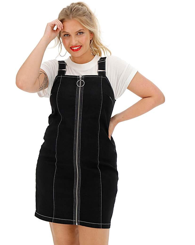 Black Zip Front Denim Pinafore Dress