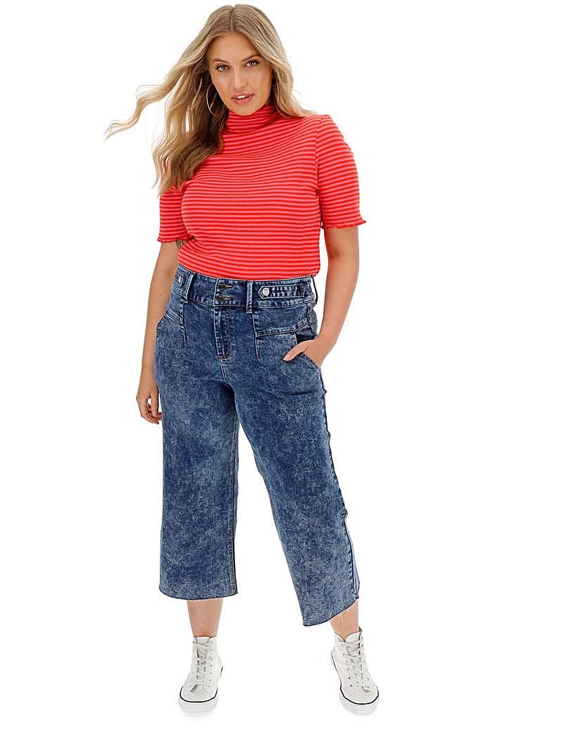 Blue Acid High Waist Crop Wide Leg Jeans