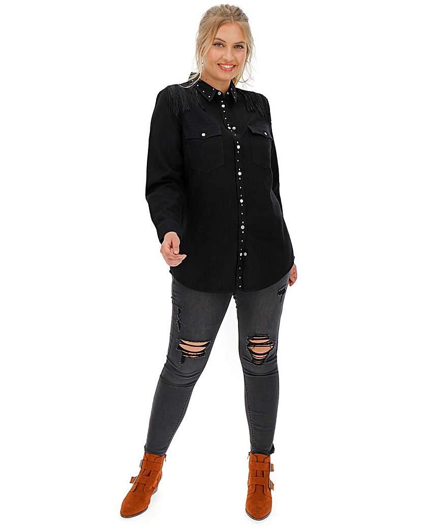 Black Western Studded Fringe Denim Shirt