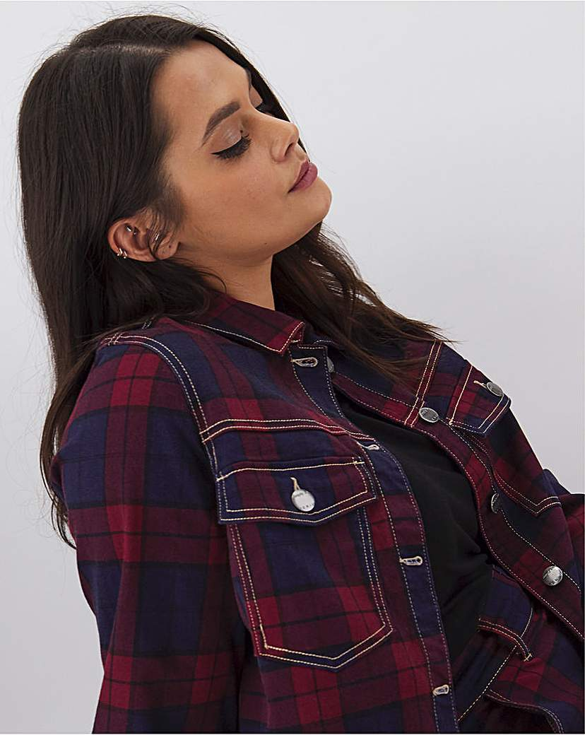 Simply Be Red Checked Co-Ord Denim Jacket