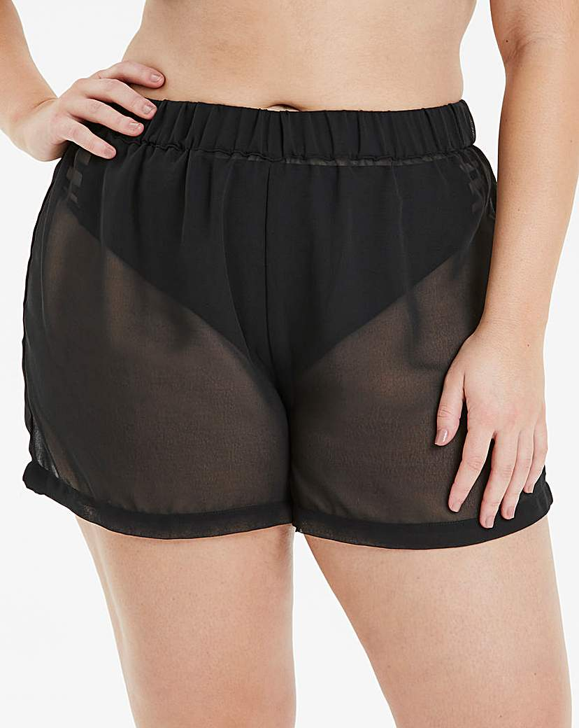 Simply Be Black Georgette Beach Shorts