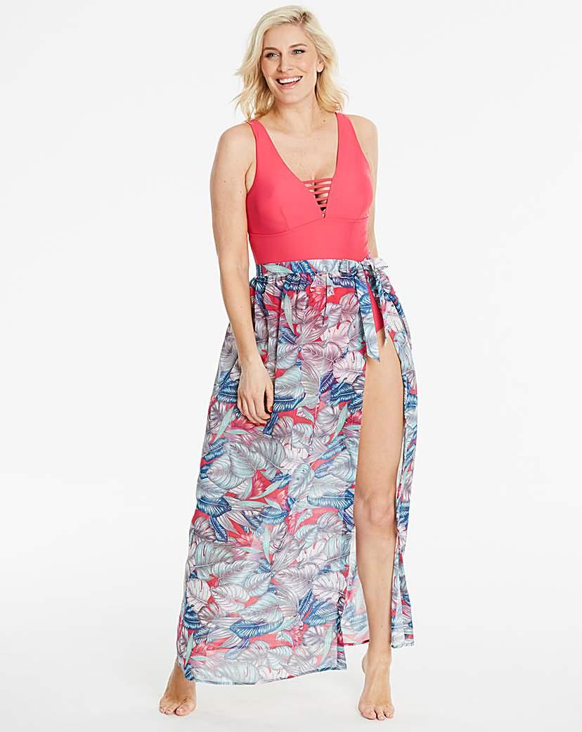 Palm Print Sarong Skirt