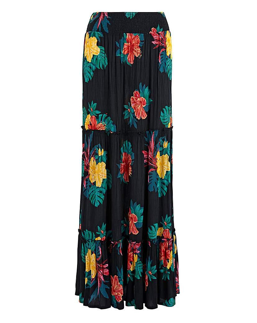 Capsule Floral Crinkle Shirred Waist Maxi Skirt