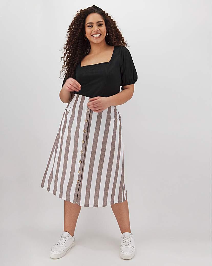 Capsule Linen Blend Button Through Midi Skirt