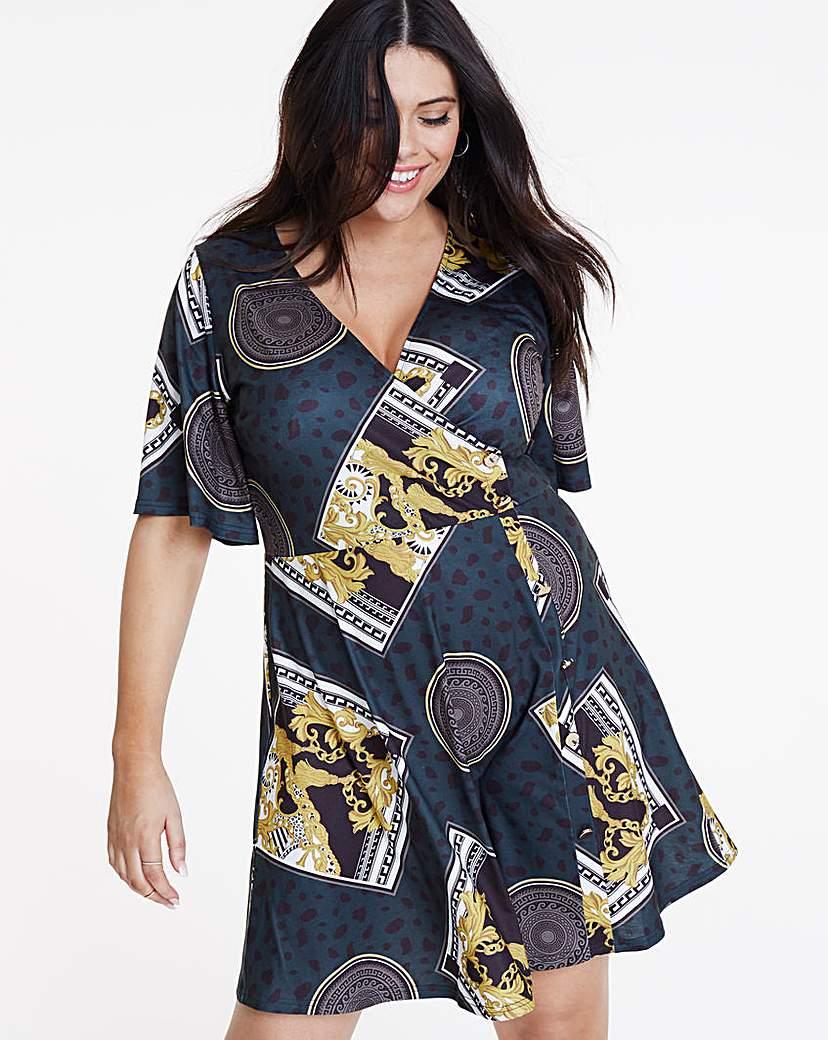 Simply Be Chain Print Skater Wrap Dress