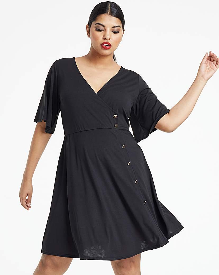 Simply Be Black Button Through Wrap Skater Dress