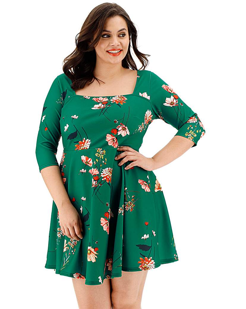 Simply Be Green Floral Square Neck Skater Dress