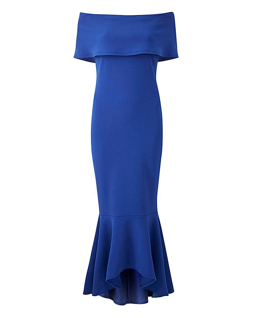 Cobalt Bardot Fishtail Dress
