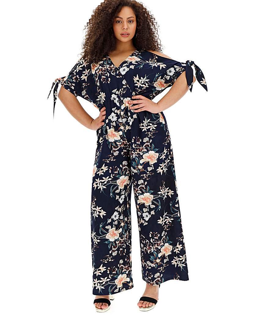 Simply Be Navy Floral Cold Shoulder Jumpsuit