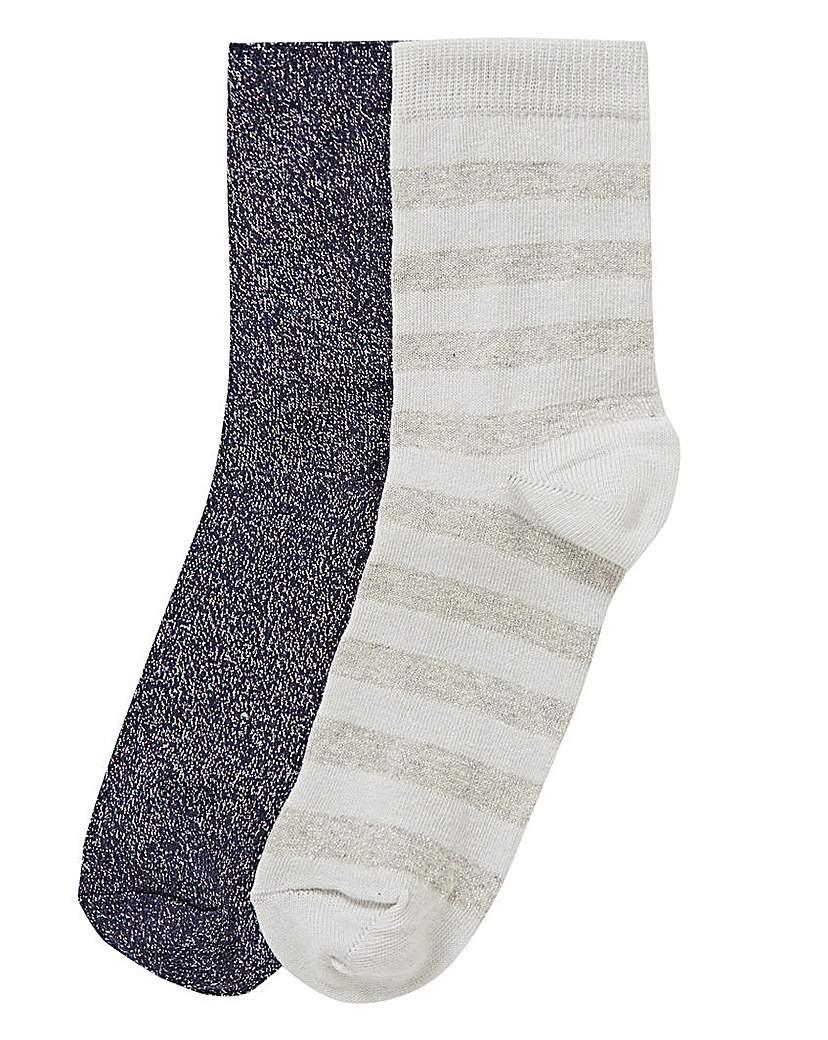 2 Pack Glitter & Stripe Socks