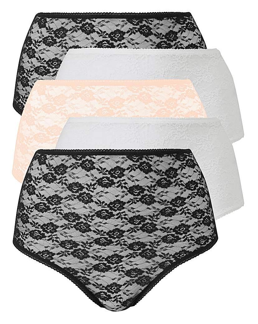 5 Pack Lace Blk/White/Blush Briefs