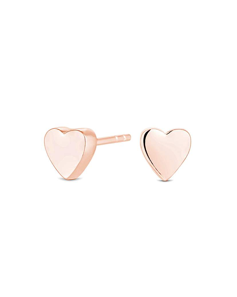 14ct Rose Gold Thick Heart Stud Earrings