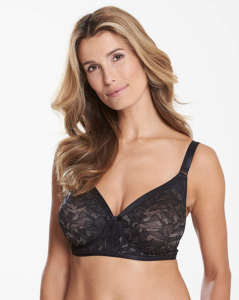 Image of Playtex Lace Non Wired Black/ Grey Bra