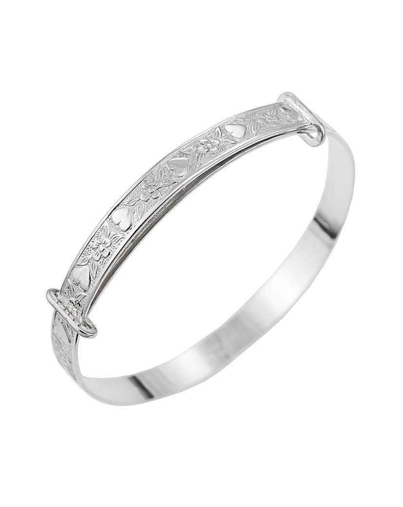 Simply Be Silver Heart Flower Expander Bangle