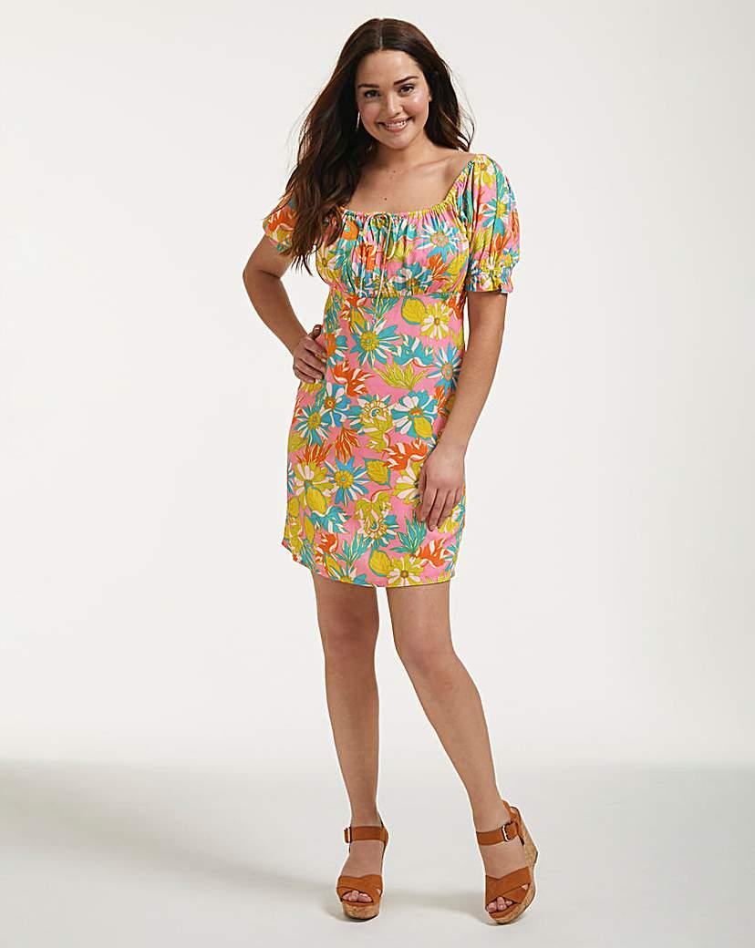 Vintage Style Dresses | Vintage Inspired Dresses Miami Puff Sleeve Mini Dress £35.00 AT vintagedancer.com