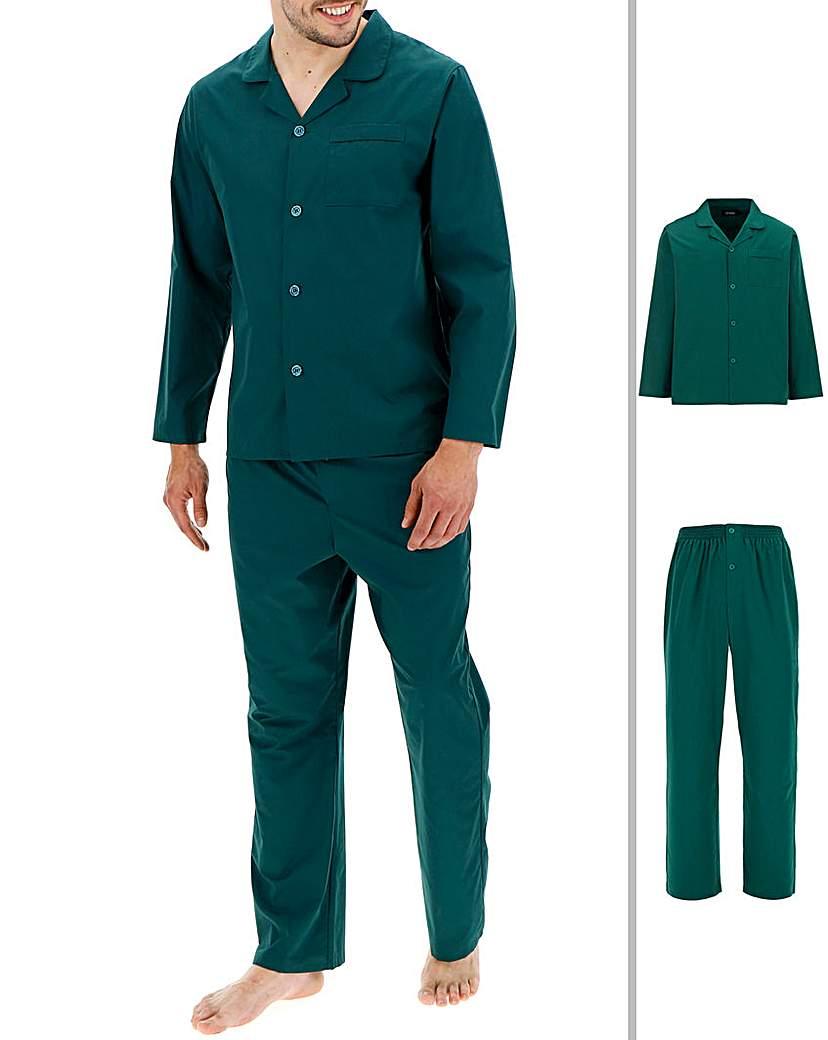 Forest Green Long Sleeve Plain PJ Set