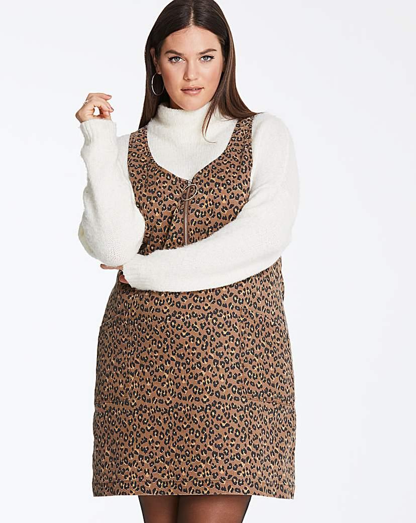 Tan Leopard Print Pinafore Dress