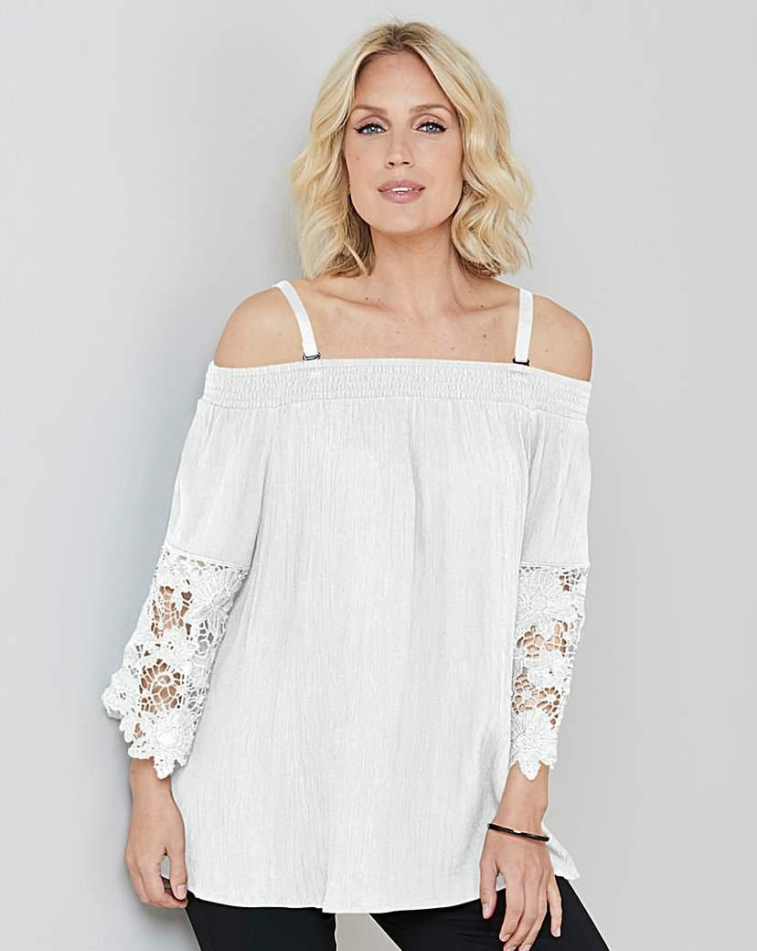 Julipa White Crinkle Lace Trim Blouse