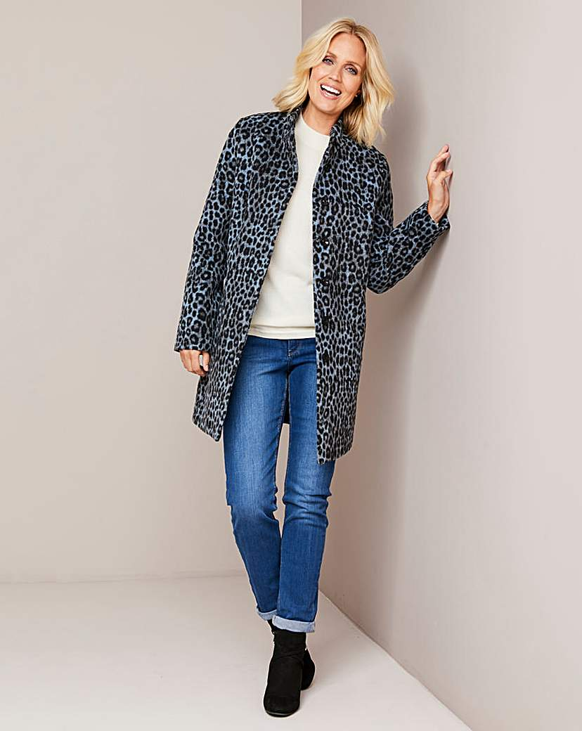 Julipa Animal Print Funnel Neck Coat