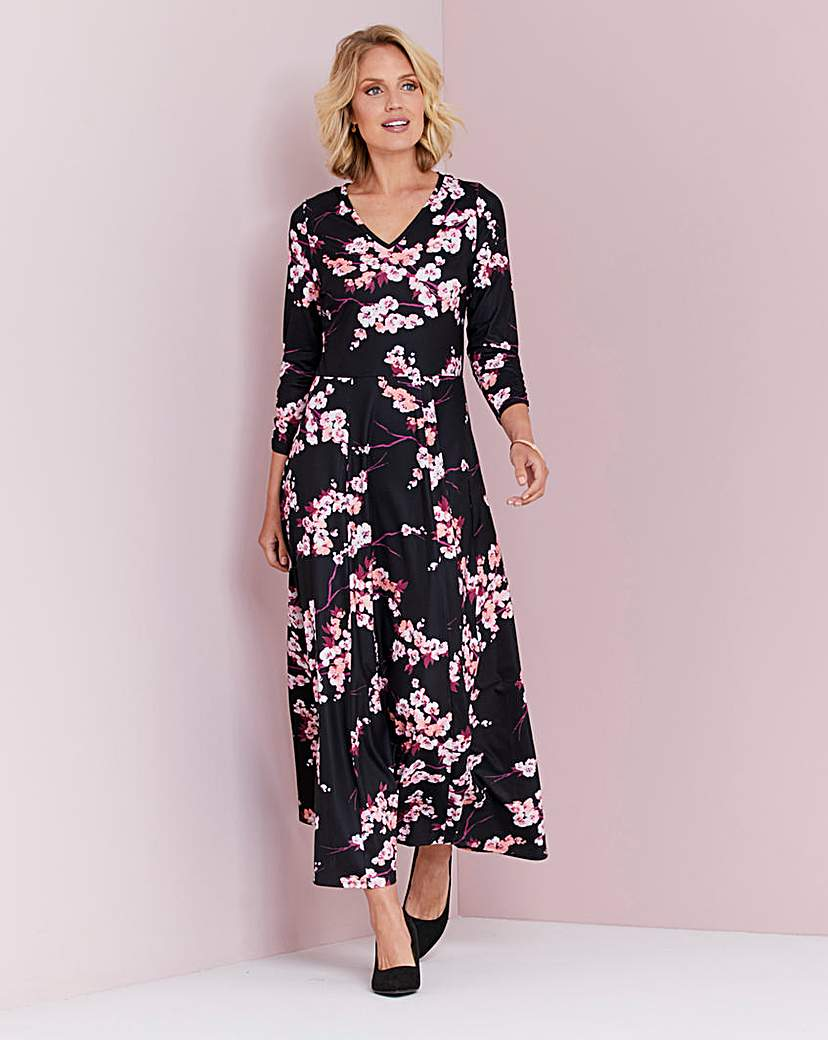 Black/Pink Printed Jersey Maxi Dress