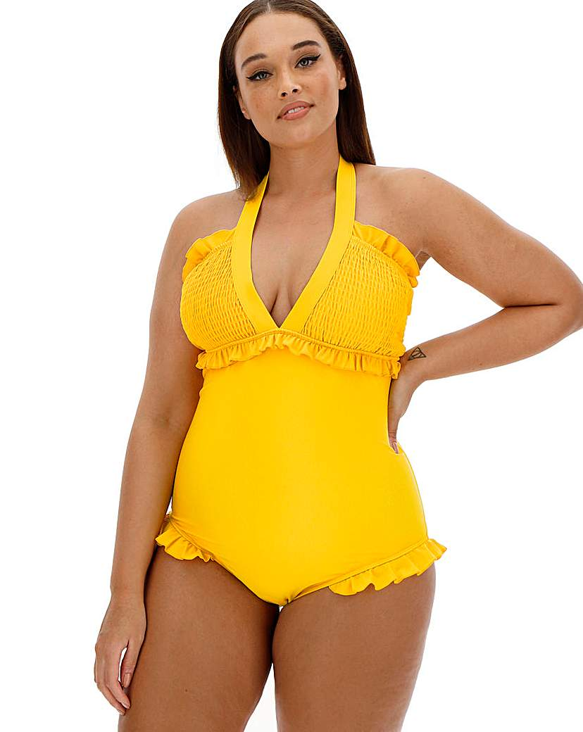 Simply Be Shirring V Neck Swimsuit