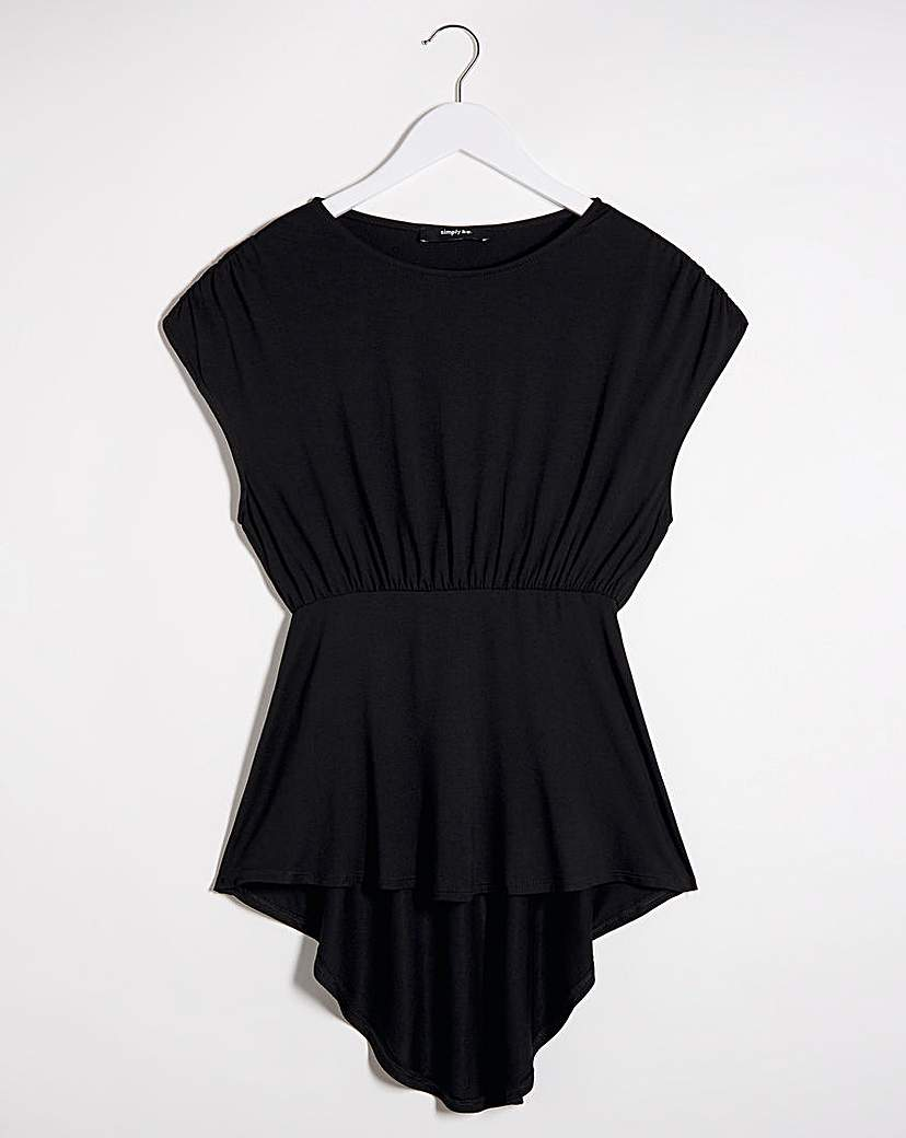 Simply Be Black Dipped Back Tunic