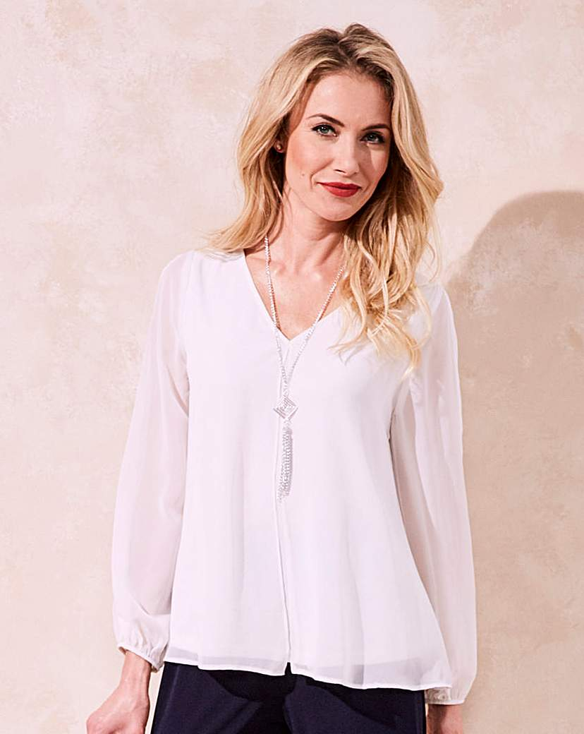 1920s Style Blouses, Tops, Sweaters, Cardigans Joanna Hope Necklace Trim Top £35.00 AT vintagedancer.com