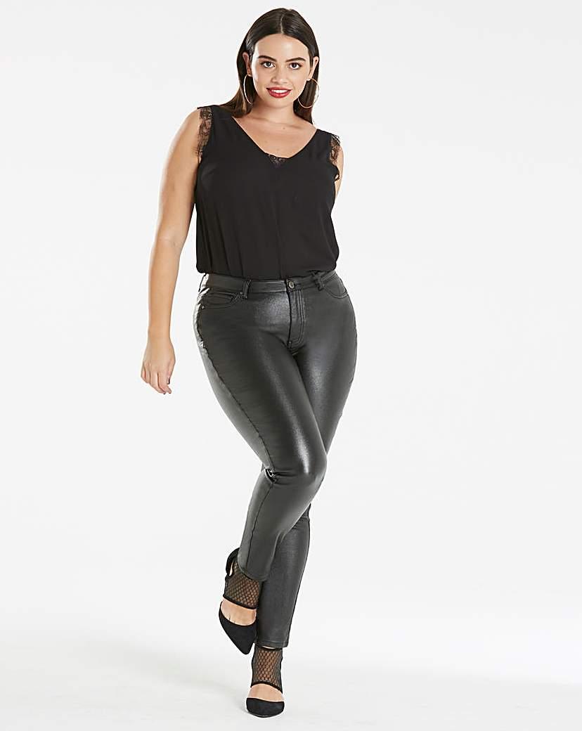 Simply Be Saskia Shimmer Coated Super Slim Jean