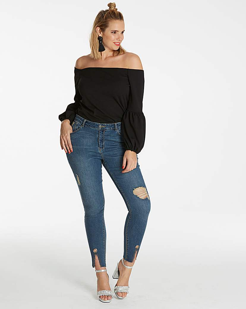 Simply Be Chloe Split Hem Eyelet Skinny Jeans
