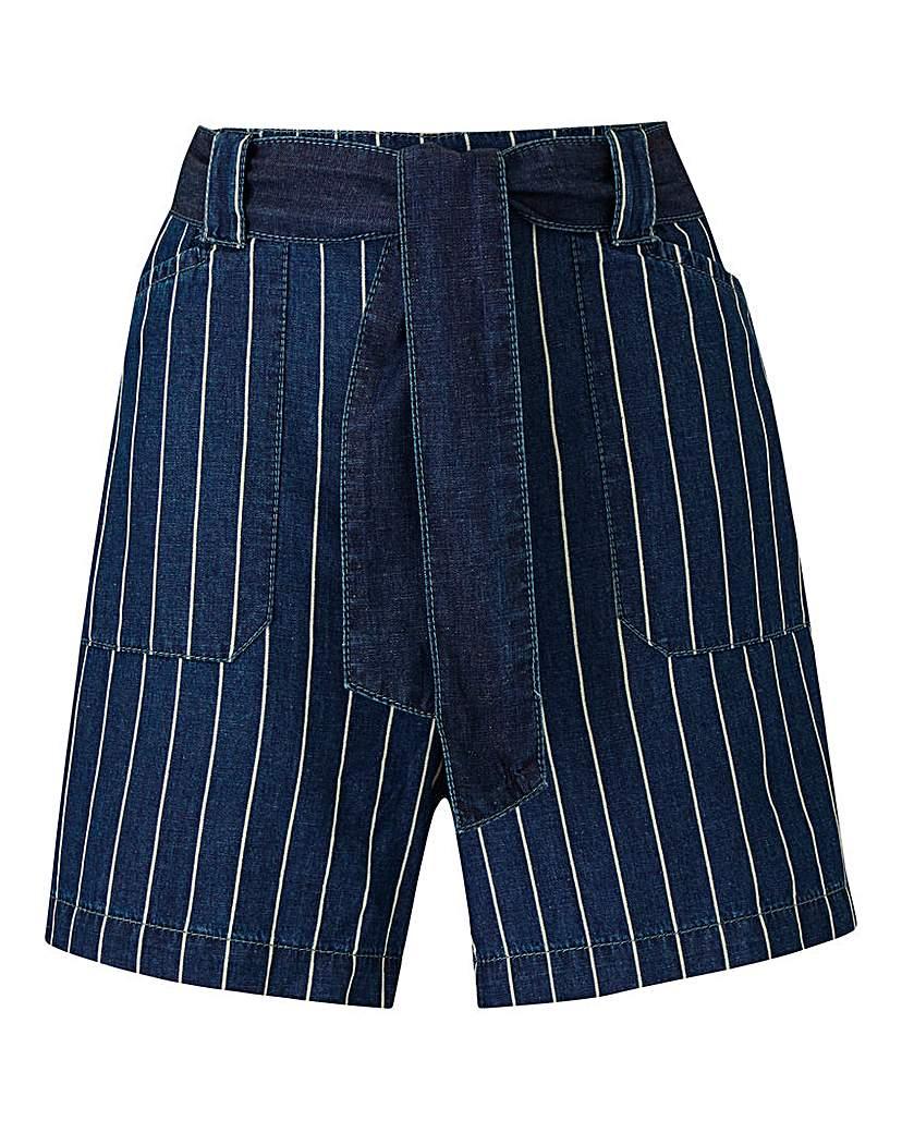 Simply Be Lightweight Stripe Denim Pull-On Shorts