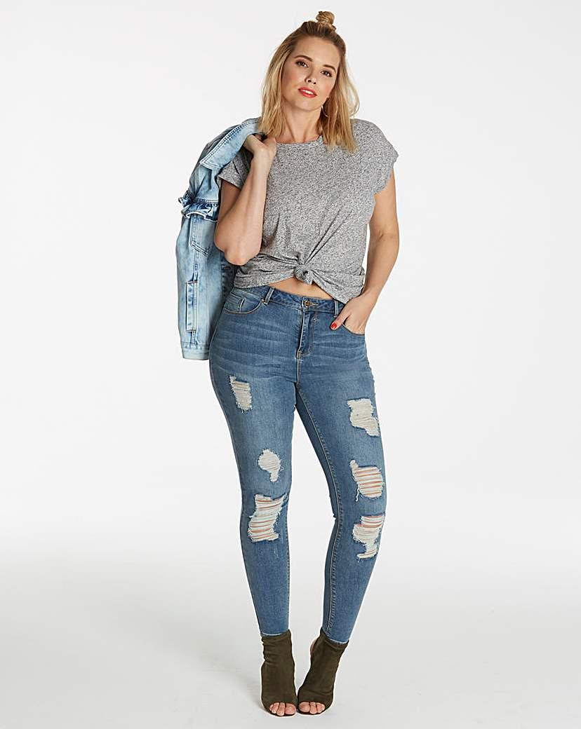 Simply Be Chloe Distressed Skinny Jeans Long