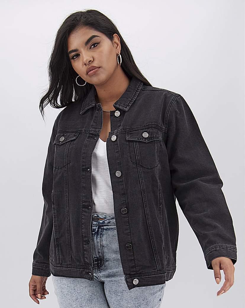 Simply Be Black Oversized Denim Jacket