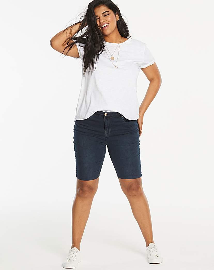 Simply Be Indigo Chloe Knee Length Denim Shorts